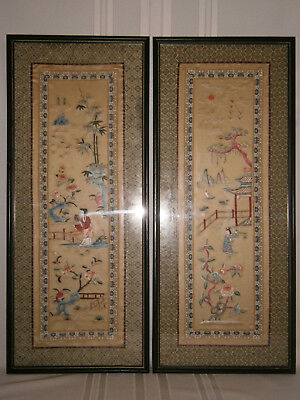 Antique Vintage Japanese Pair Embroidered Silk Panels 1900's