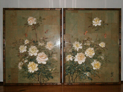Vintage Signed Pair Chinese Floral Rice Paper Paintings