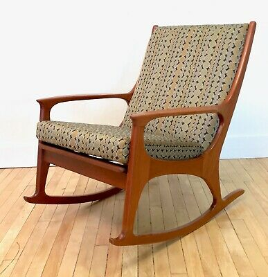 Terrific Danish Modern Solid Teak Rocking Chair W New Cushions Mid Creativecarmelina Interior Chair Design Creativecarmelinacom