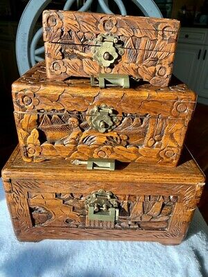 Rare nesting set of 3 Antique hand carved ornate Chinese camphor wood, carving