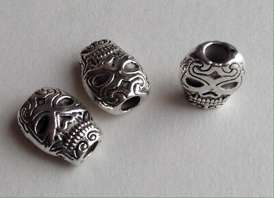 Day of the Dead Sugar Skull or Luchador Silver Zinc Alloy Beads Lot of 10 Pieces