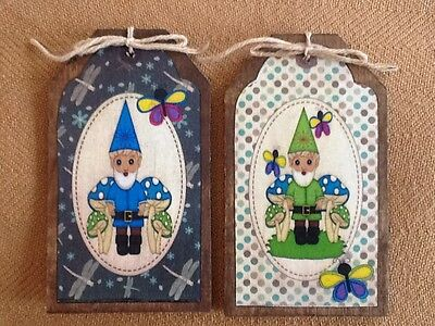 GNOME LOVERS - 5 Handcrafted Wooden Garden Gnome Ornaments,Hang Tags SET/5
