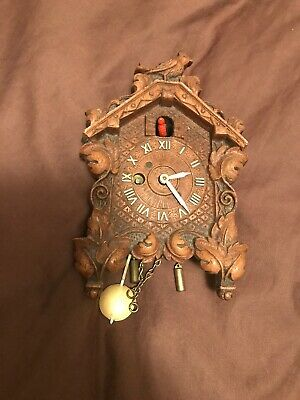 Vintage Small Miniature Keebler Cuckoo Clock With Red Bird
