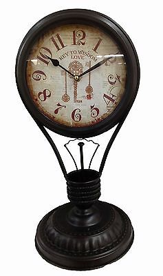 Table Clock Nostalgia Antique Vintage Floor Mantel Black 45cm Lightbulb Metal