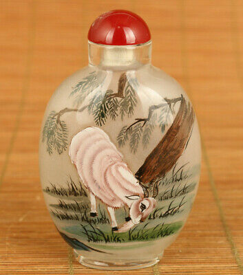 Antiques Chinese Glass Hand inside painting sheep figure snuff bottle decoration
