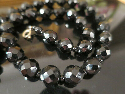 Lovely Antique EARLY 1900'S FRENCH JET NECKLACE faceted, (26)