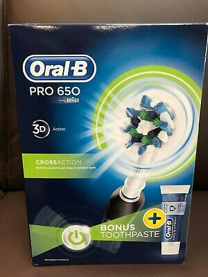 Oral-B Pro 650 BLACK 3d-White Cross Action Elec. Rechargeable Toothbrush+T/Paste