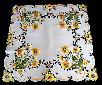 Sunflowers tablecloth table runner doily with embroidered flowers and leaves