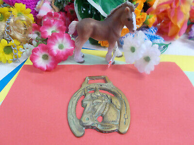 ANTIQUE HORSE BRASS - HORSE HEAD / ORNAMENT - HANG ON WALL - 80 x 65 mm # 44