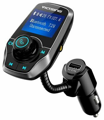 VICTSING Upgraded Bluetooth FM Transmitter for Car, Power Off Switch, Music Play
