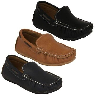Boys Moccasins Kids Leather Look Shoes Driving Loafers Slip On Boat Deck Casual