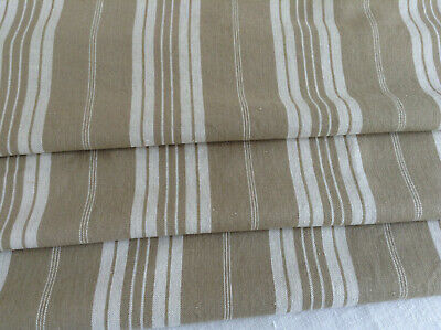 Antique vintage French Linen striped ticking fabric herringbone weave upholstery