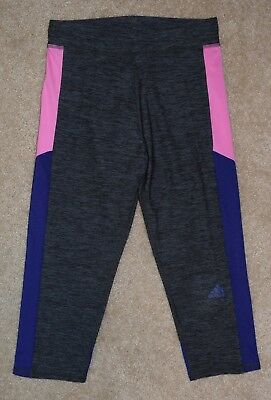 New Girls Adidas Athletic Pants Gray Climalite Capris Leggings Large 12/14