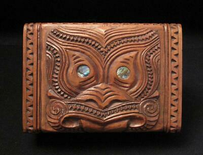 Vintage Maori Tiki Hand Carved Wooden Feather Trinket Box New Zealand Tribal #2
