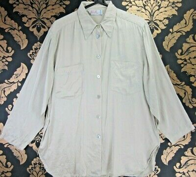 VINTAGE RETRO LIGHT BROWN SILK BUTTON UP 3/4 SLEEVE BLOUSE LARGE U.K18 st579