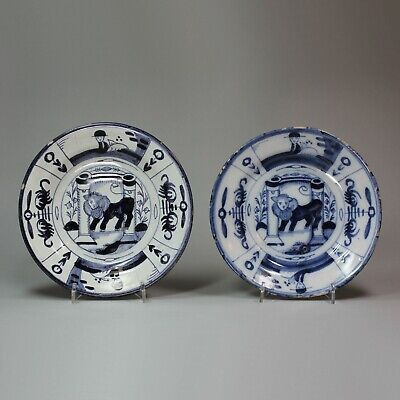 Antique Pair of Dutch blue and white delft small plates, circa 1760