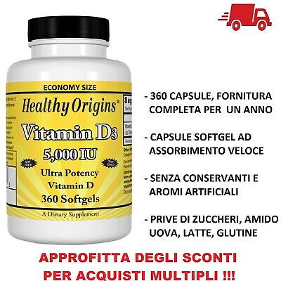 Healthy Origins Vitamina D-3 D3 5000 IU 5000iu 360 Capsule softgels VITAMINE