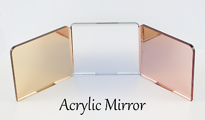 MIRROR ACRYLIC SHEETS ROSE GOLD, GOLD, SILVER 3mm, 100mm - 600mm