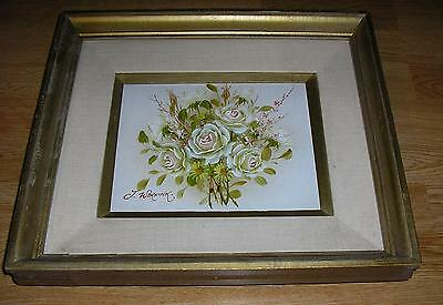 Vintage White Pink Garden Roses Yellow Daisies Flowers Still Life Oil Painting