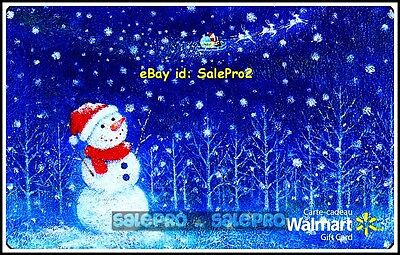 Walmart Christmas Snowman Watching Flying Santa #Vl8999 Collectible Gift Card