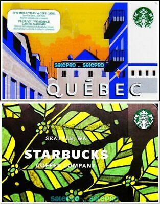 2x STARBUCKS COFFEE LEAFS TEA SEATTLE QUEBEC PROVINCE COLLECTIBLE GIFT CARD LOT