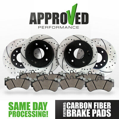 [Front and Rear Kit] Performance Drilled & Slotted Brake Rotors and Ceramic Pads