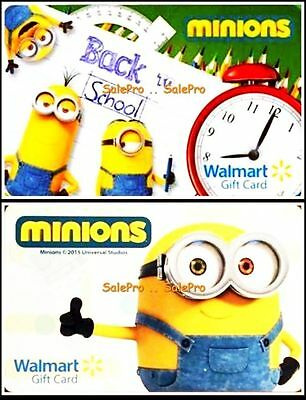 2x WALMART UNIVERSAL STUDIO MINIONS SCHOOL LIMITED COLLECTIBLE GIFT CARD LOT