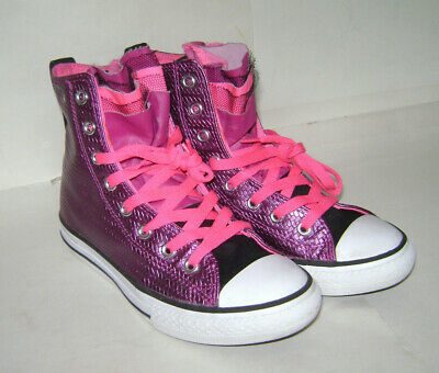 CONVERSE ALL STAR JUNIOR GIRLS HIGH TOP LACE SHOES SNEAKERS Size 2 PINK PURPLE
