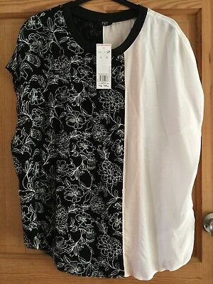 BNWT Tu Ladies Black & White Floral Colour Block Blouse Top Sz 14