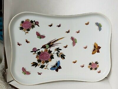Small porcelain Tray hand painted bird, butterflies, flowers, gold accents