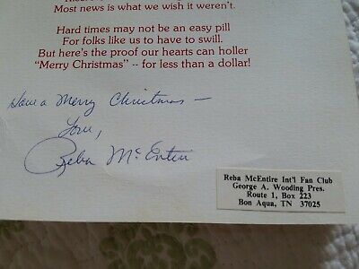 REBA MCENTIRE AUTOGRAPH FROM LATE 70s! VERY DIFFICULT TO FIND EARLY SIGNATURE!!