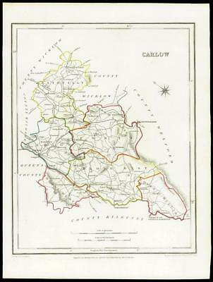 IRELAND 1845 - Original Antique Map of CARLOW by Lewis & Co