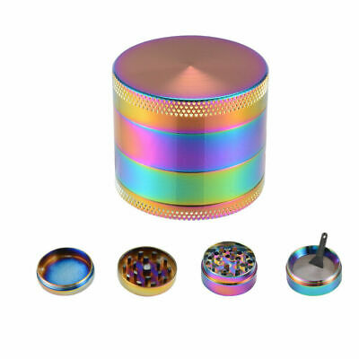NEW 4 Piece Rainbow Multicolor Herb Grinder Spice Smoke Crusher Screen Filter