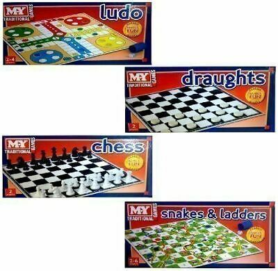 Set Of 4 My Traditional Family Board Games Chess Ludo Snakes & Ladders Draughts