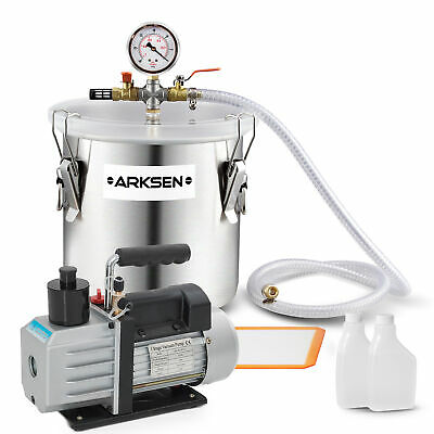 5CFM Vacuum Pump 1/2HP with 3 Gallon Vacuump Chamber Silicone Expoxy Degassing