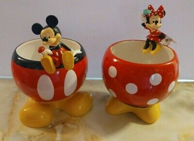 """Disney Mickey /& Minnie Mouse Ceramic 5.5/"""" Flower Pots Planter New With Tag"""