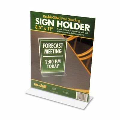"""Nu-dell Acrylic Standing Sign Holder - 8.50"""" X 11"""" Insert - Acrylic - Clear"""