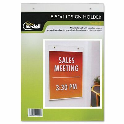 NU-DELL MANUFACTURING 38011Z Clear Plastic Sign Holder, Wall Mount, 8 1/2 X 11
