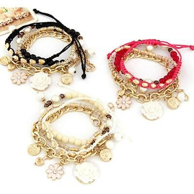 Boho Vintage Elastic Bangle Bead Chain Multilayer Flower Bracelet Jewelry JH