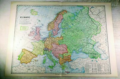 """1899 Antique Europe Map 22.25x16.25"""" Colorful, Bright! European, Russia, France+"""