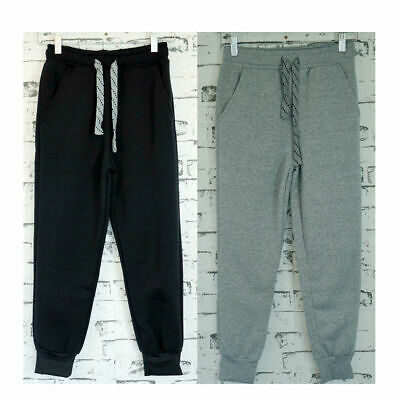 Boys Elastic Cuff Winter Track Pant 100% Polyester Fleece, Low Pill Black Grey