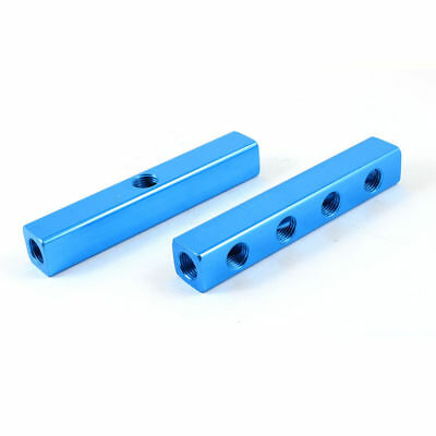 H● 2 Pcs 13mm Female Thread 4 Positions Quick Connector Air Hose Manifold Block.