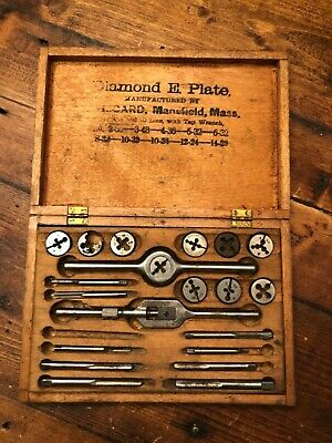 Antique Tap and & Die Tool Set in Wood Box Mansfield