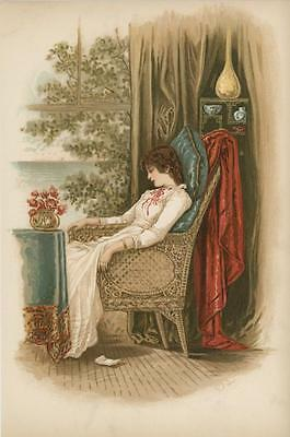 Antique Victorian Girl White Dress Sleeping In Wicker Chair Flowers Vase Print