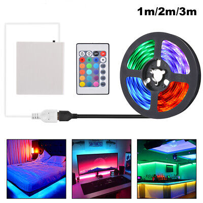 USB Powered LED Strip Light RGB + Battery Box + Controller Multi Color 1M 2M 3M