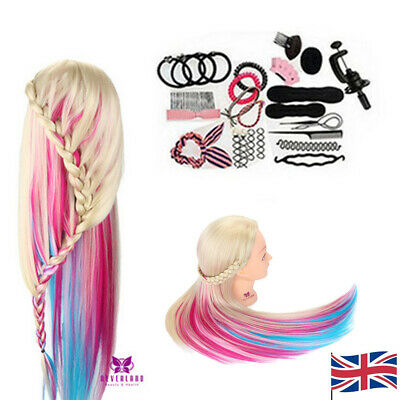 """28"""" Colorful Hair Hairdressing Training Head Mannequin Doll Clamp +Lichen Set UK"""