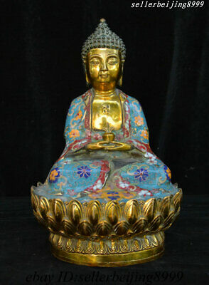 "11""China Tibet Buddhism Brass Cloisonne Menla Medicine Buddha Medical God Statue"