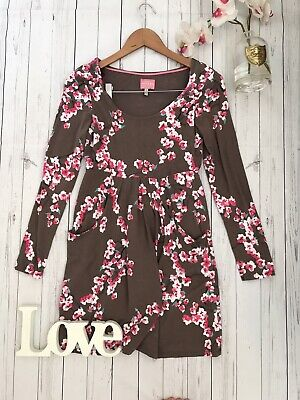 Joules Size 8 XS brown blossom print tunic long top Alexi VGC pockets sleeves