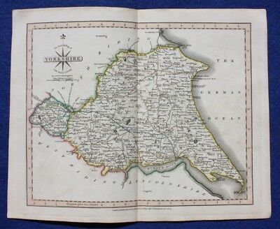 Original antique map EAST RIDING OF YORKSHIRE WITH AINSTY LIBERTY, J. Cary, 1809