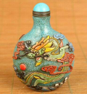 Rare old Glaze hand carving dragon phoenix statue figure snuff bottle decoration